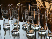 Load image into Gallery viewer, Pilsner Glass with Hand Cut Classic Block Name