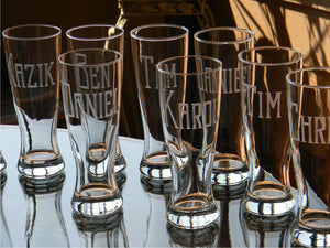 Pilsner Glass with Hand Cut Classic Block Name