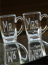 Load image into Gallery viewer, Hand Cut Mr. and Mrs. Engraved Tea / Coffee Mug | Set of 2