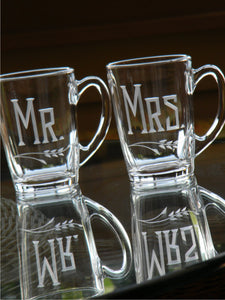 Hand Cut Mr. and Mrs. Engraved Tea / Coffee Mug | Set of 2