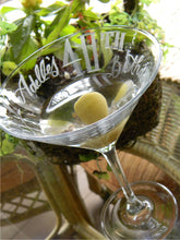 Load image into Gallery viewer, Hand Cut Personalized Birthday Martini Glass