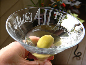 Hand Cut Personalized Birthday Martini Glass