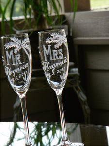 Hand Cut Mr. and Mrs. Beach Destination Wedding Champagne Flute | Set of 2