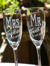 Load image into Gallery viewer, Hand Cut Personalized Mr. & Mrs. Champagne Flute | Set of 2