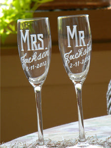 Hand Cut Personalized Mr. & Mrs. Champagne Flute | Set of 2