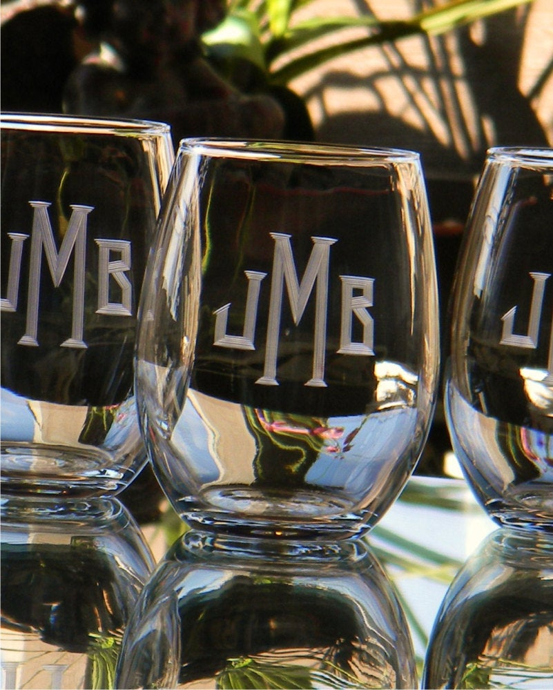 Stemless Wine Glasses with Hand Cut Classic Block Monogram, 21 oz