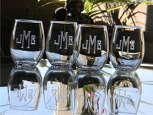 Load image into Gallery viewer, Stemless Wine Glasses with Hand Cut Classic Block Monogram, 15 oz