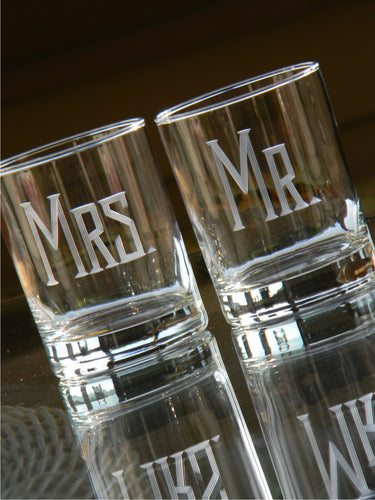 Hand Cut Mr. and Mrs. Rocks Glass | Set of 2