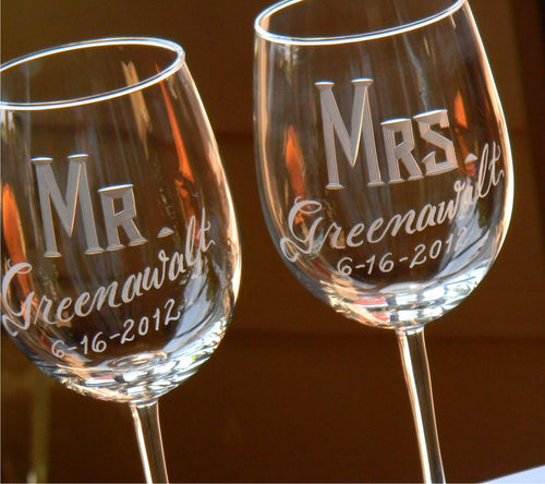 Hand Cut Personalized Mr & Mrs Wine Glass | Set of 2