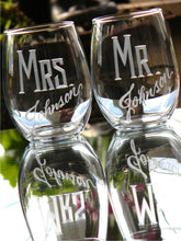 Load image into Gallery viewer, Hand Cut Personalized Mr. & Mrs. Stemless Wine Glass, 15 oz | Set of 2