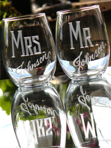 Hand Cut Personalized Mr. & Mrs. Stemless Wine Glass, 21 oz | Set of 2