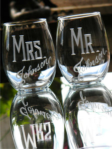 Hand Cut Personalized Mr. & Mrs. Stemless Wine Glass, 15 oz | Set of 2