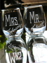 Load image into Gallery viewer, Hand Cut Personalized Mr. & Mrs. Stemless Wine Glass, 21 oz | Set of 2