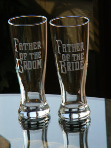 Hand Cut Father of the Bride or Father of the Groom Pilsner Beer Glass