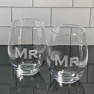 Mix and Match, Mr and Mr 21 oz Stemless Wine Glasses | Set of 2