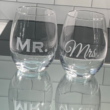 Load image into Gallery viewer, Mix and Match, Mr and Mrs 21 oz Stemless Wine Glasses | Set of 2