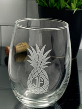 Load image into Gallery viewer, Pineapples Stemless Wine Glass with Monogram, 15 oz or 21 oz Media 1 of 2