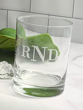 Load image into Gallery viewer, Double Old Fashioned Rocks Glass with Etched Monogram, 14 oz
