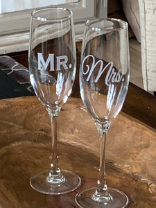 Mix and Match, Mr & Mrs Champagne Toasting Flutes | Set of 2