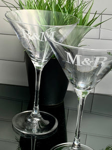 Set of 4 Crystal Martini Glass Etched with Monogram, 10 oz