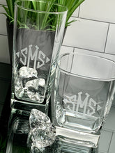 Load image into Gallery viewer, Mix + Match Monogrammed Square Beverage & Rock Glass Set