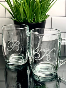 20 oz Glass Coffee Mug with Monogram