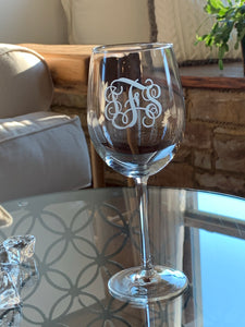 Etched Monogrammed Wine Glass, 16 oz