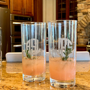 Set of 4 | 15 oz Beverage Hiball Glass Personalized with Monogram