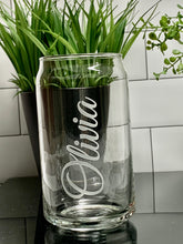 Load image into Gallery viewer, 12 oz Soda Can Glass Etched with Name or Custom Text
