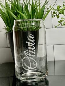 12 oz Soda Can Glass Etched with Name or Custom Text