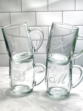 Load image into Gallery viewer, Set of 4 | 20 oz Glass Coffee Mug with Monogram