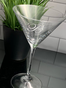 Crystal Martini Glass Etched with Monogram, 10 oz