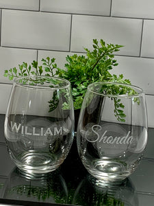 Set of 4 | Personalized 21 oz Stemless Wine Glass
