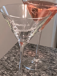 "Ready to Ship ""Quarantini"" Martini Glass"