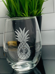 Set of 4 | Pineapples Stemless Wine Glass with Monogram, 15 oz  or 21 oz