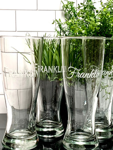 Set of 4 | 20 oz Etched Pilsner Beer Glass