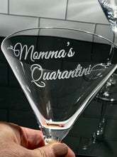 "Load image into Gallery viewer, Personalized ""Quarantini"" Martini Glass"
