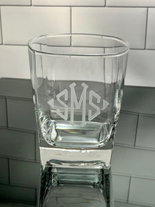 Monogrammed Square Rocks Glass, 13 oz