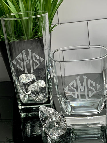 Mix + Match Monogrammed Square Beverage & Rock Glass Set