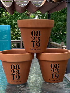Personalized Terra Cotta Flower Pot with Custom Date and Names