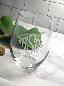 Stemless Wine Glass with Etched Monogram, 15 oz