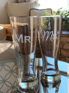 Mix and Match, Mr & Mrs Pilsner Beer Glasses | Set of 2