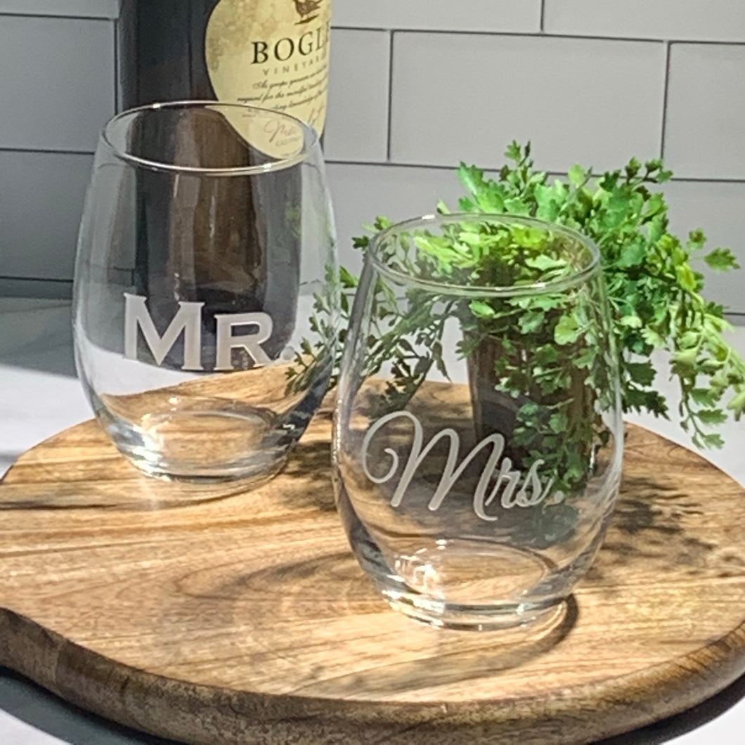 Mix and Match, Mr and Mrs 21 oz Stemless Wine Glasses | Set of 2