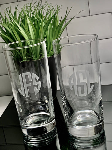 15 oz Beverage Hiball Glass Personalized with Monogram