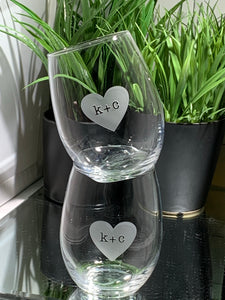 Forever Stamped in My Heart Stemless Wine Glass