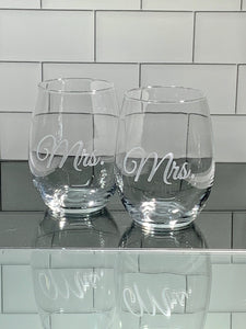 Mix and Match, Mrs and Mrs 21 oz Stemless Wine Glasses | Set of 2
