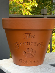 Custom Engraved Paw Prints Terra Cotta Flower Pot