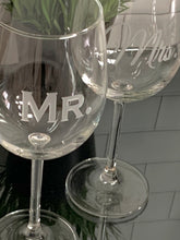 Load image into Gallery viewer, Mix and Match, Mr & Mrs 16 oz Wine Glasses | Set of 2
