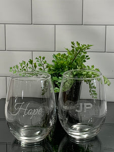 Personalized 15 oz Stemless Wine Glass
