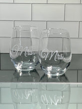 Load image into Gallery viewer, Mix and Match, Mrs and Mrs 21 oz Stemless Wine Glasses | Set of 2